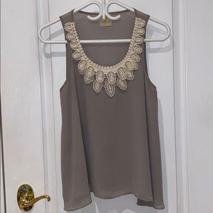 Sheer Tank Blouse with Pearls